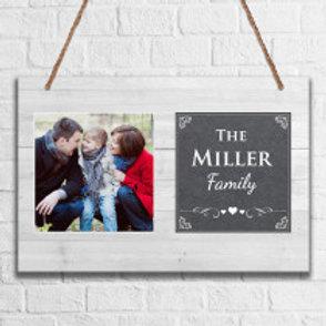 Grey Family - Metal Hanging Sign - Photo & Name