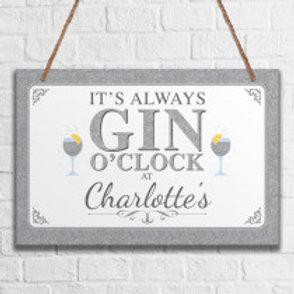Gin - Metal Hanging Sign - Name