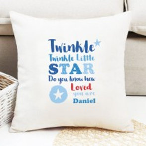 Twinkle Twinkle - Boy - Velvet Cushion - Name Only