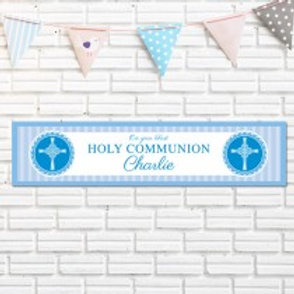 Holy Communion Blue Banner - Name