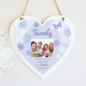 Family Hanging Heart  - Blue - Photo