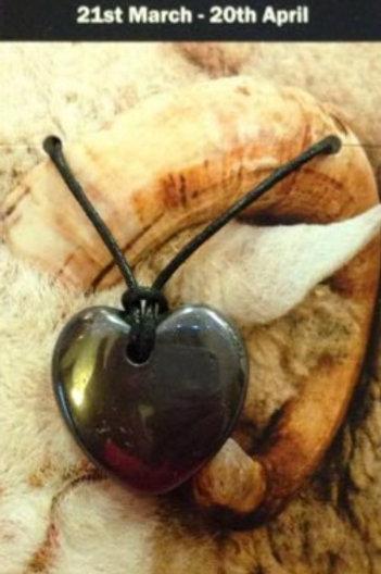 Hematite Heart Pendant - Aries Zodiac Sign