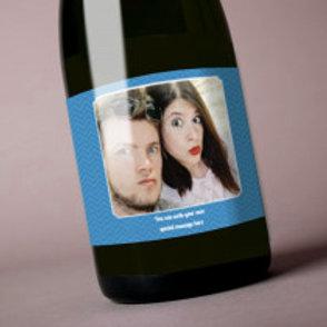 Blue - Bottle / Candle Label - Photo & Text