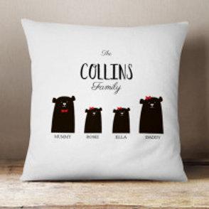 Bear Family of 4 (2 Adults 2 Girls)  - Velvet Cushion - Names Only