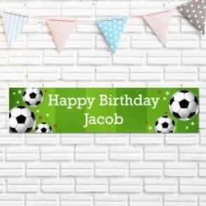 Football Pattern Birthday Banner - Name