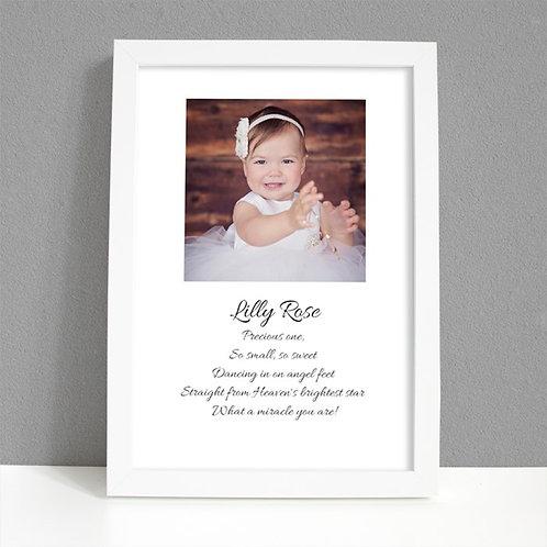 Baby Girl - Framed Artwork - Photo & Name