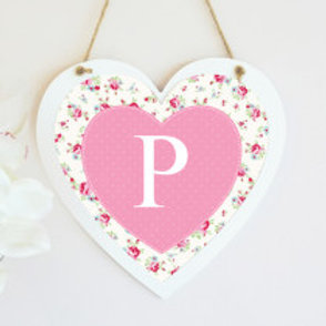 Floral with Single Letter Hanging Heart - Text