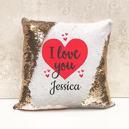 I Love You Sequin Cushion