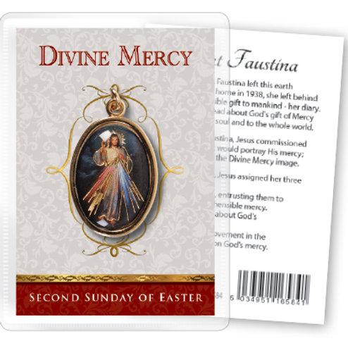 Divine Mercy - Gilt Medal (Gold) & Leaflet