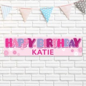 General Pink Birthday Banner - Name Only