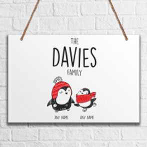 Penguin Family of 2 - Metal Hanging Sign - Name Only