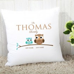 Owl Family of 2 (Son & Dad)- Velvet Cushion - Names Only