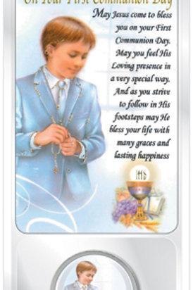 Communion Coin & Prayer Card (Boy)