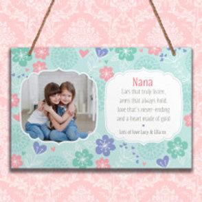 Nana - Metal Hanging Sign - Photo & Text