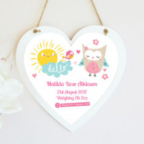 New Baby Jungle Hanging Heart - Girl - Text