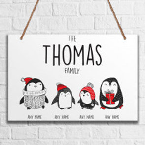 Penguin Family of 4 - Metal Hanging Sign - Name Only
