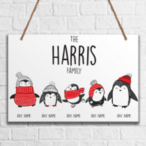 Penguin Family of 5 - Metal Hanging Sign - Name Only