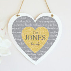 Grey/Gold Hanging Heart - Family Name Only