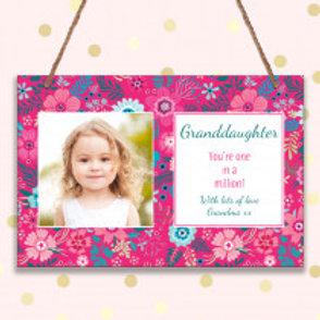 Granddaughter - Metal Hanging Sign - Photo & Text