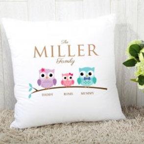 Owl Family of 3 (1 Girl)- Velvet Cushion - Names Only