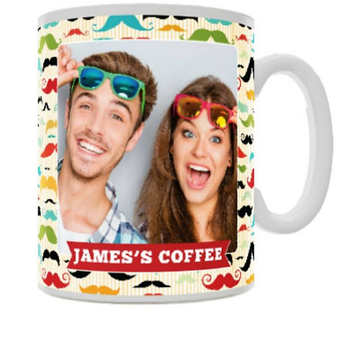 Moustache Pattern Ceramic Mug