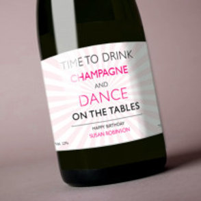 Dance on the Tables (Birthday) - Bottle / Candle Label - Name