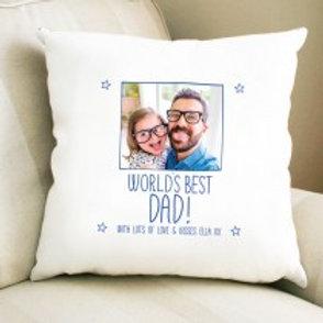 World's Best Dad - Velvet Cushion One Photo