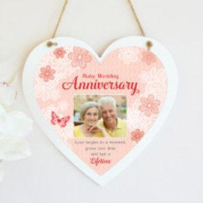 Ruby Wedding Anniversary Hanging Heart  - Photo