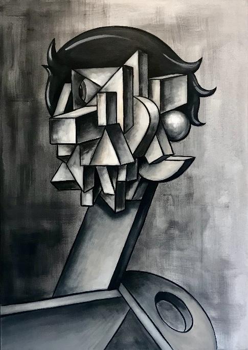 Cubistic head with one eye