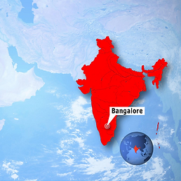 India map with a bangalore pin