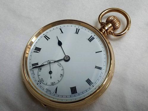21 Jewel Swiss 9ct Gold Open Face Pocket Watch