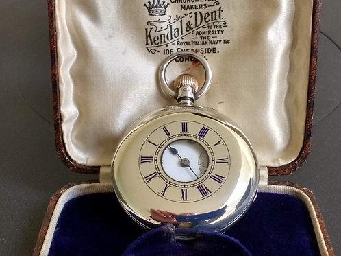 Kendal & Dent Silver Half Hunter Pocket Watch