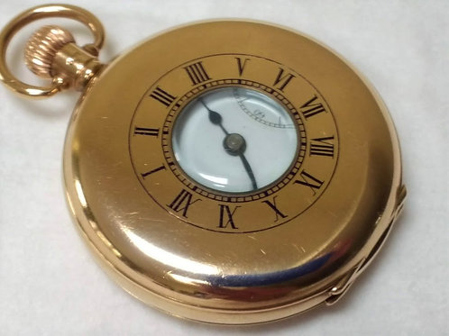 17 Jewel Swiss 9ct Gold Half Hunter Pocket Watch