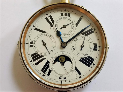 Oversize Swiss Multi Dial Moon Phase Pocket Watch