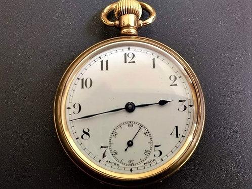 Swiss 15 jewel 3 adjustments pocket watch