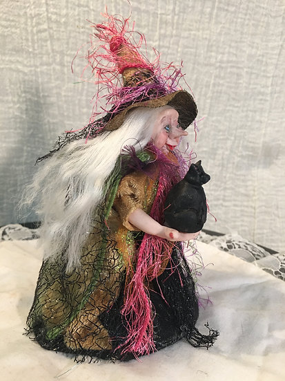 """""""The Familiar"""" Witch with Cat Miniature 1/12"""" Scale OOAK"""