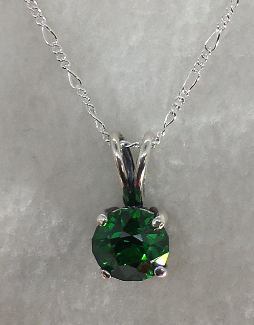 10mm Synthetic Emerald Mounted in Sterling Silver