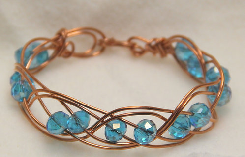 Cut Beads Mounted in Copper Wire Wrapped Bracelet