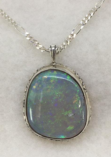 Australian Mintabie Grey Opal Mounted in Sterling Silver