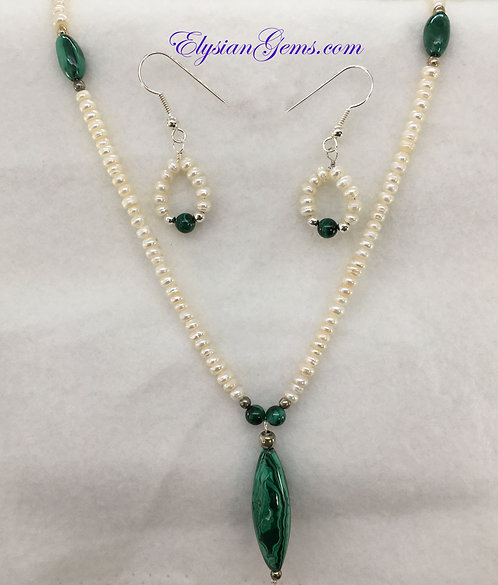 """18"""" Cultured MINI Pearls and Malachite Bead with earrings"""