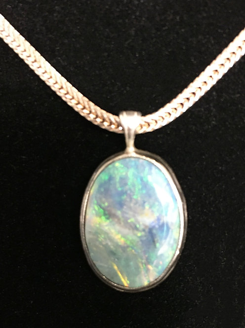 Australian Mintabie Opal Mounted in Sterling Silver
