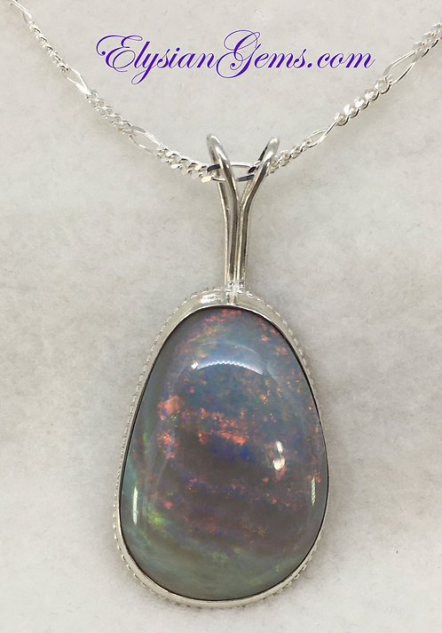 Lambina Opal Necklace on Sterling Silver Figaro Chain