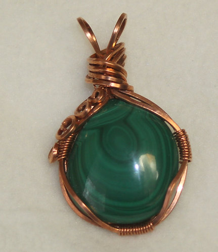 Malachite Cab Mounted in Copper Wire Wrapped Setting