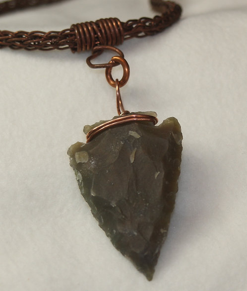 Stone Arrow Head Mounted in Copper Wire Wrapped Setting w/Heavy Viking Weave Chain