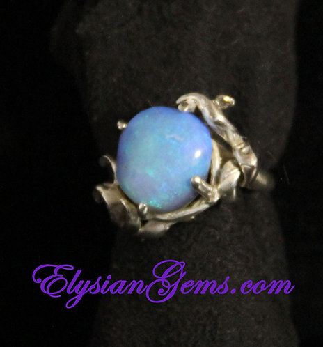 Lambina Opal Cabochon set in Sterling Silver Ring
