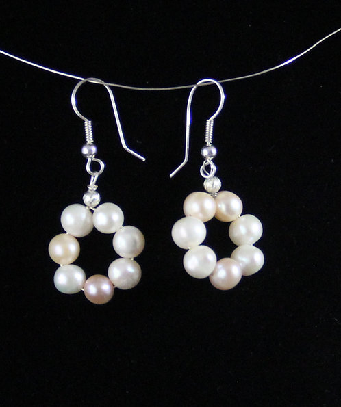 Cultured Pearl earring hoops on Sterling Silver Wires
