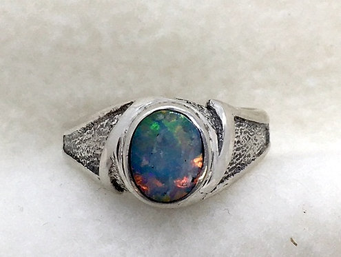 Mintabie Opal Cabochon Mounted in a Sterling Ring
