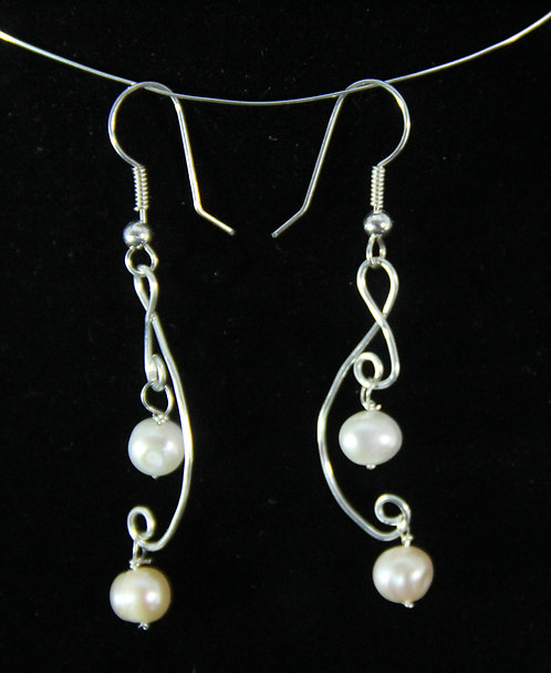 Cultured Pearl earrings on Hammered Wire with French wires