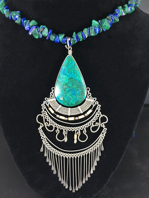 Turquoise and Malachite Nugget Necklace with strung Azurite and Malachite chips