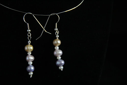 Multi-Colored Cultured Pearl earrings on Sterling Silver Wires